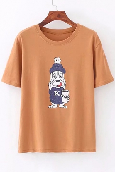 Dog Printed Tee Sleeve Round Cartoon Neck Short qP08faqdw