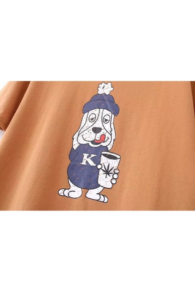 Tee Cartoon Short Printed Dog Sleeve Neck Round xYwOvfYq