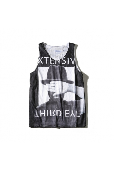 Printed Character Sports Round Neck Letter Sleeveless Tank HB1Bwq0