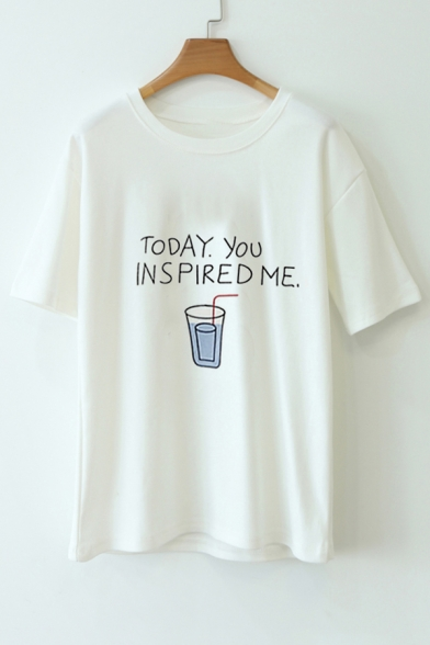 Chic Letter Water Cup TODAY YOU INSPIRED ME Print Short Sleeve Summer Tee Top
