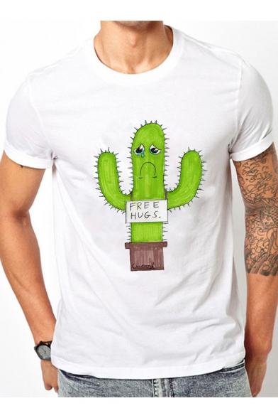 Comic Printed Letter Short Cactus Sleeve Round Crying Neck Tee OqarHOt