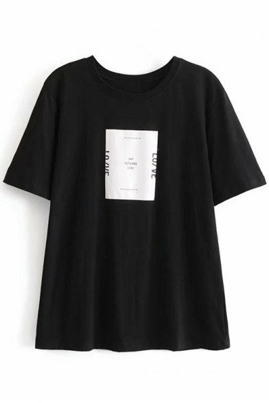 Cool Pattern Simple Neck Printed Loose Tee Sleeve Round Letter Short PqPHr