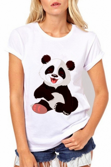 Tee Panda Slim Short Cute Printed Cartoon Neck Round Sleeve 4wwqf78