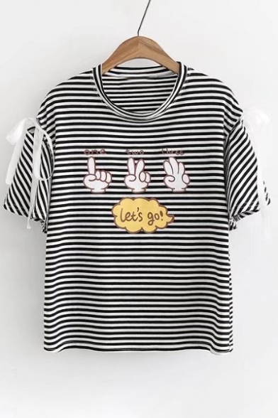 Short Letter Embellished Neck Printed Bow Cute Striped Sleeve Gesture Tee Round H5qwWWgX