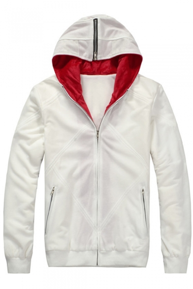 Fashionable Wings Pattern Zip Up Long Sleeve Fleece Lined Warm Hoodie