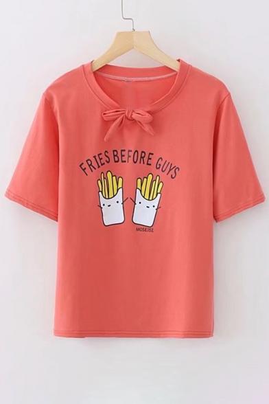 Tee Neck Short Sleeve Letter Bow French Embellished Printed Fries Round 7YWqvwz