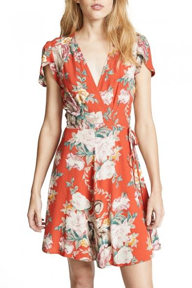 8c56e1711e24 Holiday Floral Printed V Neck Short Sleeve Mini Wrap Dress -  Beautifulhalo.com