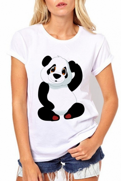 Panda Lovely Round Neck Sleeve Summer Tee Printed Cartoon Short fnqwS7v