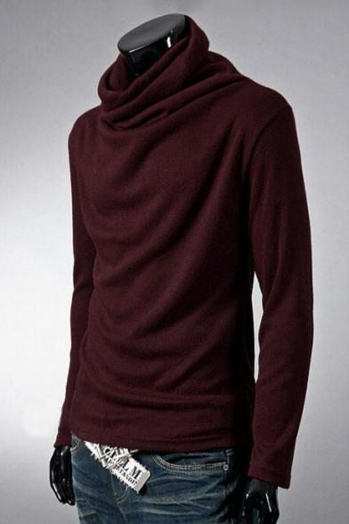 Men's Neck Tee Turtle Sleeve Long Fashion Top Plain Leisure rqx6rw4