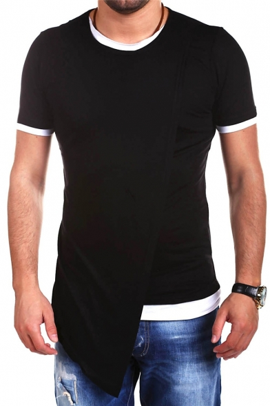 Men's Sleeve Stylish Top Design Short Asymmetrical Round Block Tee Neck Color 7Sgw7xBqF
