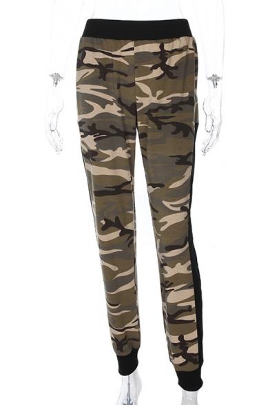 Купить со скидкой Mesh Insert Camouflage Printed Elastic Waist Pants