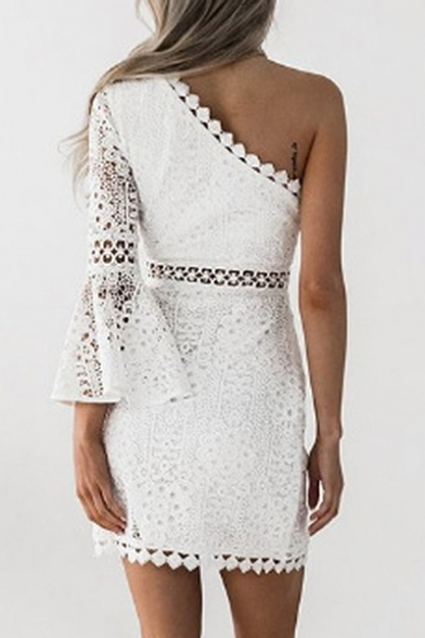 One Shoulder Lace Insert Hollow Out Long Sleeve Mini Pencil Dress