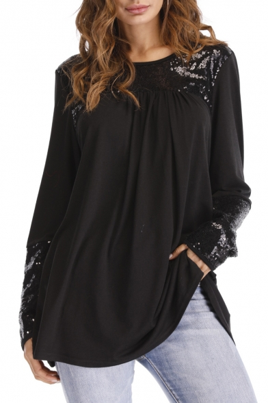 Tee Patchwork Long Top Spring Design Detail Sequined Loose Round Neck Sleeve tq55zw6Z