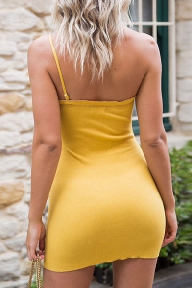 Sexy One Shoulder Spaghetti Strap Sleeveless Plain Mini Bodycon Dress