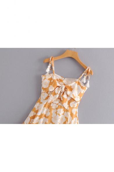 Tied Spaghetti Straps Sleeveless Floral Printed Bow Front Mini Cami Dress