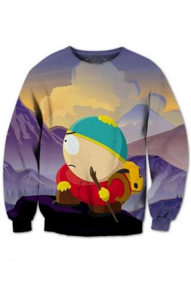 Trendy Cartoon Print Round Neck Long Sleeves Pullover Sweatshirt LC469846 фото
