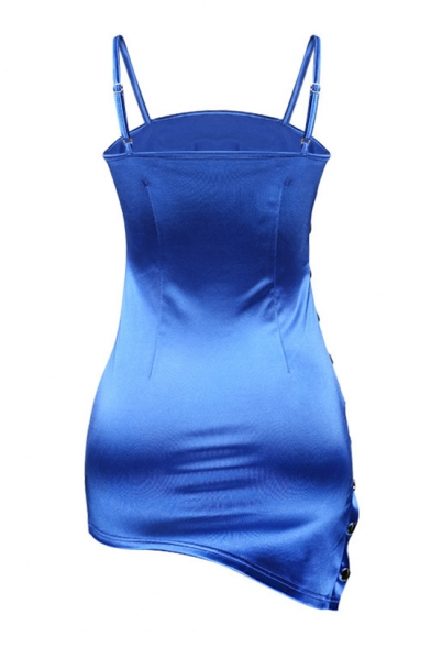 Buttons Side Plain Spaghetti Straps Sleeveless Asymmetric Hem Mini Bodycon Dress