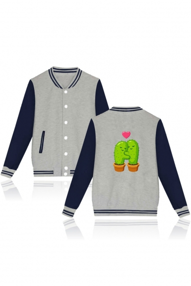 Cactus Heart Printed Back Color Block Buttons Down Long Sleeve Baseball Jacket