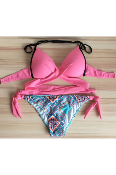 Chic Folk Style Printed Sexy Halter Hollow Out Bikini