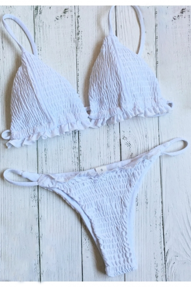 Chic Sexy Pleated Spaghetti Straps Plain Bikini