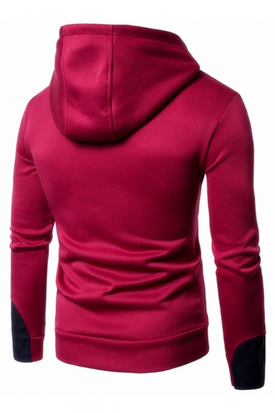 Long Color Embellished Slim Zipper Sleeve Hoodie Block rFqWtBxnr