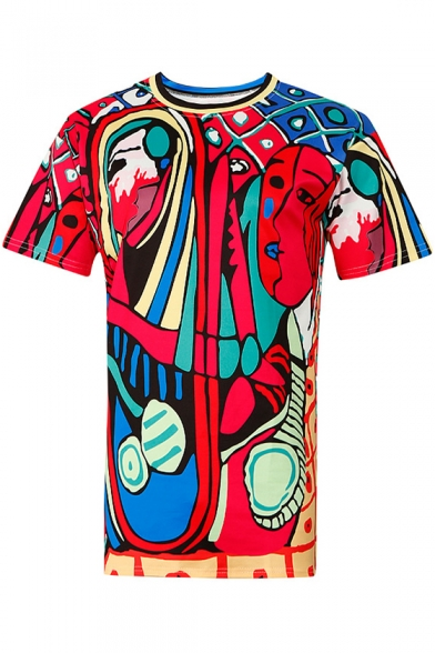 Short Fancy Tee Casual Sleeves Print Abstract Neck Painting Round XRTqBw