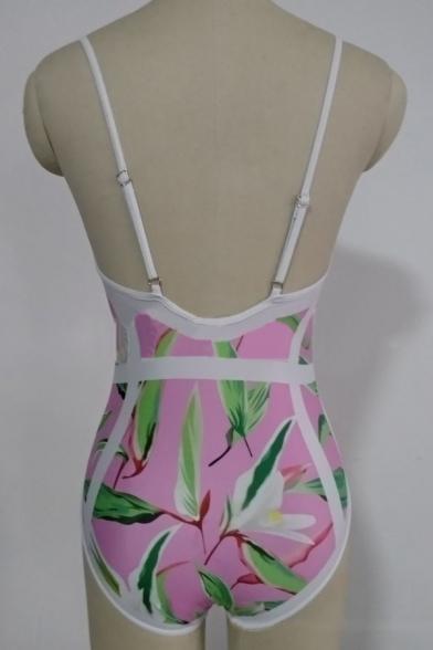 Fancy Floral Print Spaghetti Straps Basic Fashion One Piece Swimwear