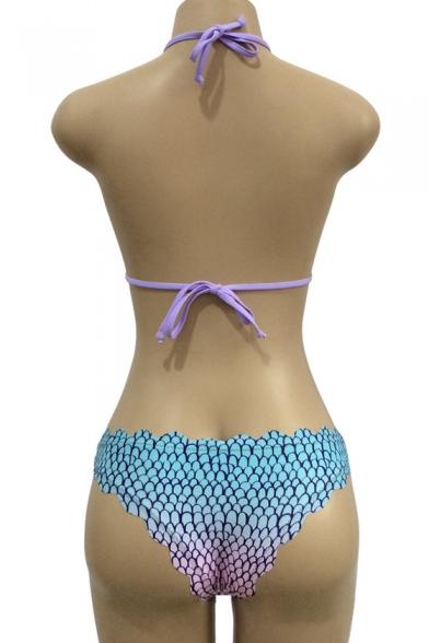 Fish Scale Print Halter Neck Tie Back Stylish Summer Bikini