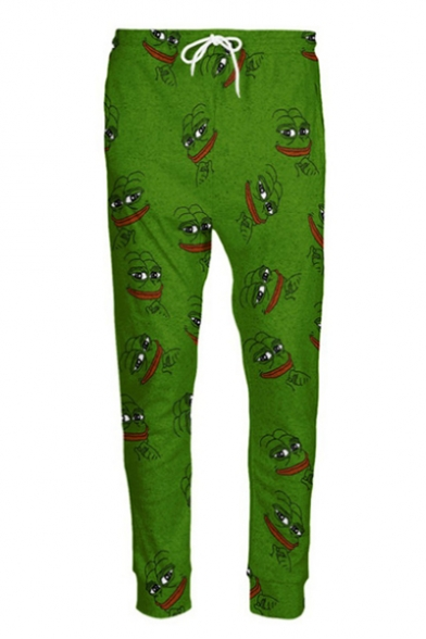 Funny Pepe Meme Frog Cartoon Print Drawstring Waist Leisure Outdoor Pants