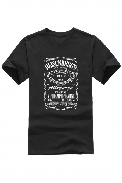 HEISENBERGS Letter Graphic Print Round Neck Short Sleeves Summer T-shirt