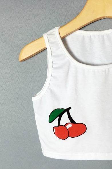 Sleeveless Tank Sale Crop Cherry Hot Neck Round Printed xXwZp00d