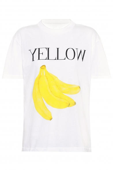 Loose Fruit Letter Short Round Printed Neck Tee Sleeve TdvYpqw