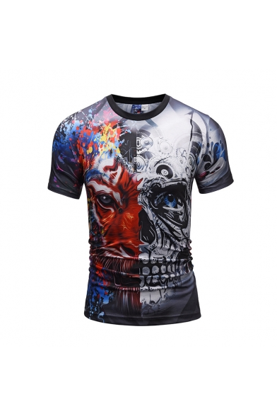 Sleeve Mechanical Neck Short Tiger Tee Printed Slim Round wqRaqXfr