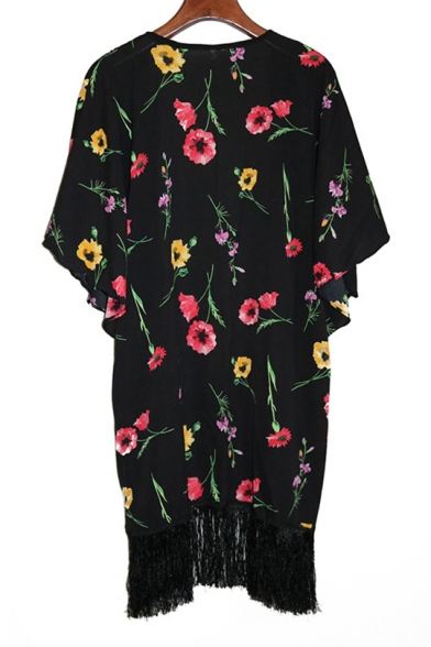 New Trendy Floral Printed Collarless Short Sleeve Kimono with Tassel