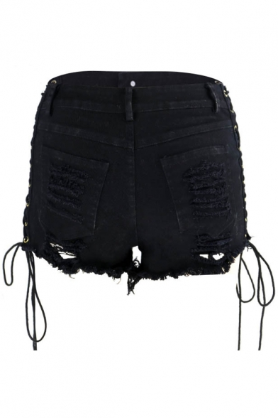 New Trendy Hot Pants Sexy Lace Up Side Ripped Plain Zipper Fly Shorts