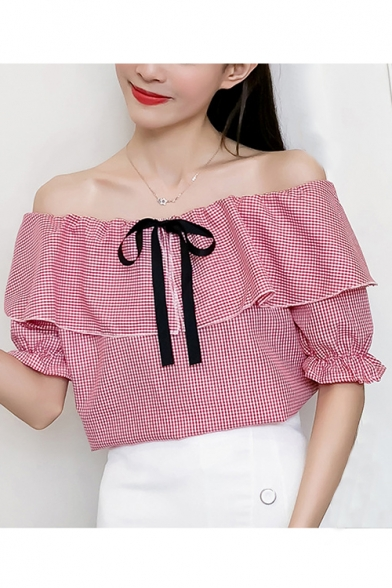 Plaid Printed Off The Shoulder Bow Embellished Half Sleeve Blouse