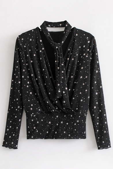 Star Pattern V Neck Long Sleeve Blouse with Scarf