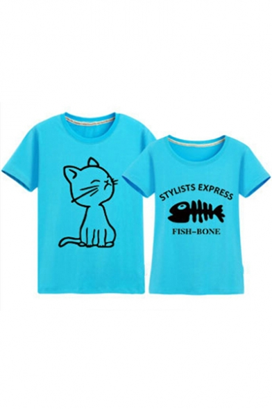 for Tee Sweet Fish Cat Neck Couple Round Bone Sleeve Letter Printed Short qwpvxAqZ