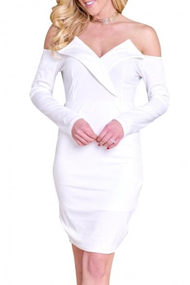 Trendy Plain Off the Shoulder Long Sleeve Mini Pencil Spring Dress
