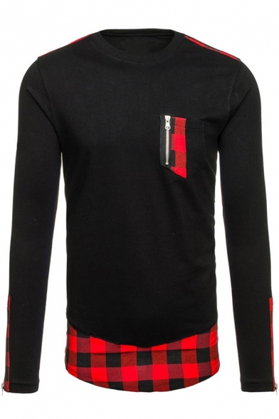 Autumn Zipper Tee Sleeve Long Pocket Detail Block Color Trendy zpdv0Fv