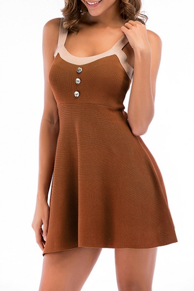 Contrast Striped Buttons Embellished Ribbed Mini Cami Knit Dress