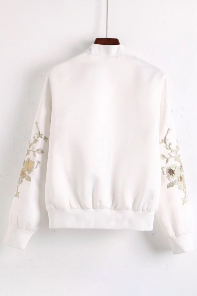 Floral Embroidered Stand Up Collar Long Sleeve Zip Up Baseball Jacket