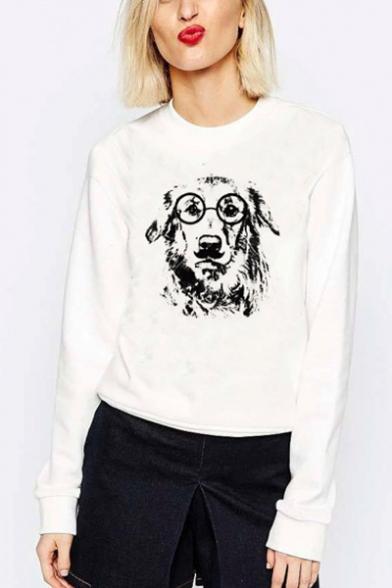 Glasses Dog Sleeve Long Sweatshirt Neck Round Pullover ffzdnqrF