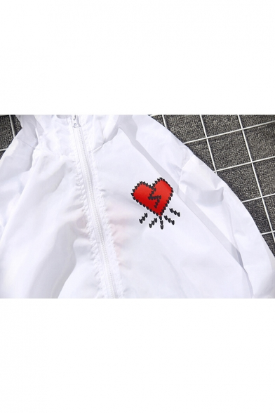 Sun Zip Long Sleeve Printed Coat Heart Hooded Up Back Proof qPxaYIwO