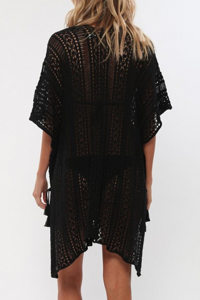 Holiday Hollow Out V Neck Half Sleeve Split Side Tunic Cover Up