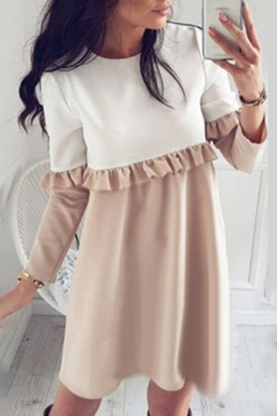 Hot Fashion Color Block Ruffle Detail Long Sleeve Mini Swing Dress