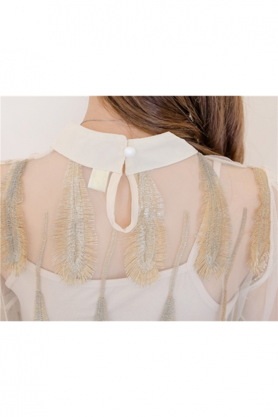 Lady Feather Embellished Sheer Mesh Mock Neck Two Pieces Long Sleeve Blouse