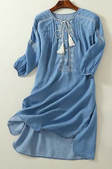 Leisure Simple Embroidered Round Neck Buttons Down Dip Hem Mini Denim Dress