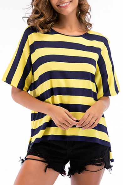 Short Sleeve Tee Neck Striped Leisure Round Dip Hem Printed HqYR0wR8