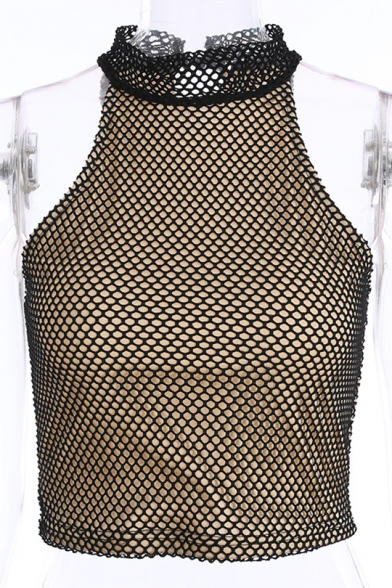 Mesh Sleeveless Insert High Neck Tank Crop rqr7t